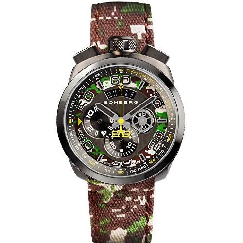 Bomberg Men's Bolt 68 45mm Cloth Band Steel Case Quartz Watch 45CHPGM.038.3