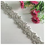 ShinyBeauty 1 Yard of Shinning Dress Embellishment Bling Bling Applique Decorative Rhinestone Bridal Sash Trim RA245