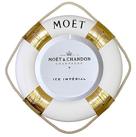 Moët & Chandon Ice Imperial Rettungsring weiß/gold mit Seil 77 cm Durchmesser - Champagner Strand Pool Beach Party Schwimmende Floating Bar