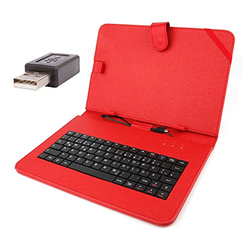 Deutsche Tablettastatur mit Schutzhülle (rot) + USB-Adapter für Samsung Ativ Tab GT-P8510 und Toshiba Folio 100