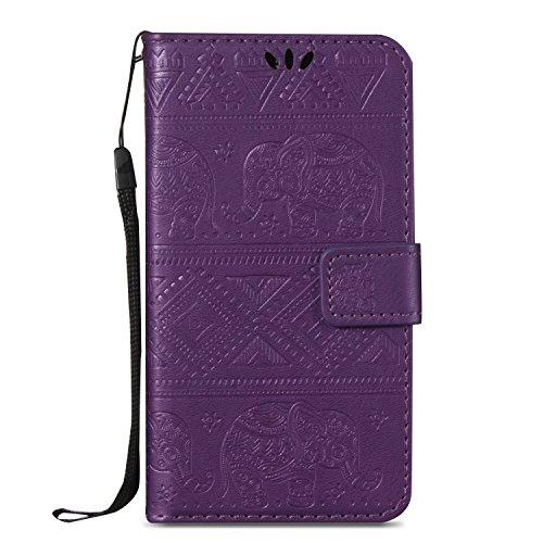 Für Samsung Galaxy A5 Premium Leder Schutzhülle, weiche PU / TPU geprägte Textur Horizontale Flip Stand Case Cover mit Lanyard & Card Cash Holder ( Color : Blue ) Purple