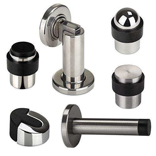 1 x Magnet Türfeststeller MAGNETO glänzend poliert Ø 50 mm Höhe 90 mm Tür-Feststeller für Wand- u. Bodenmontage von - Magnetisch Tür-halter