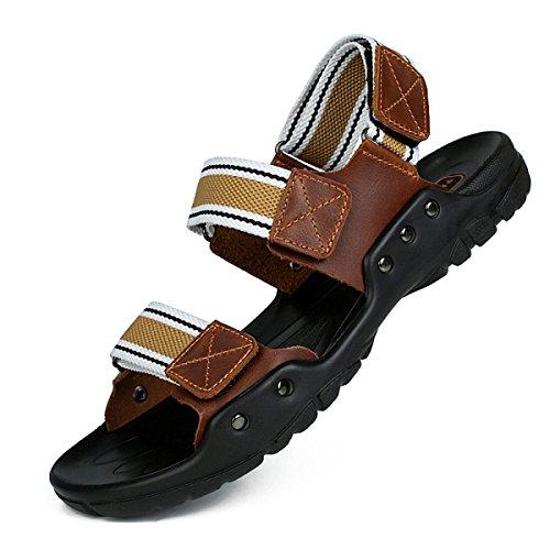 Lxxamens Été Plage Sandales Chaussures De Plein Air En Cuir Véritable Nylon Braid Randonnée Chaussures Jaune