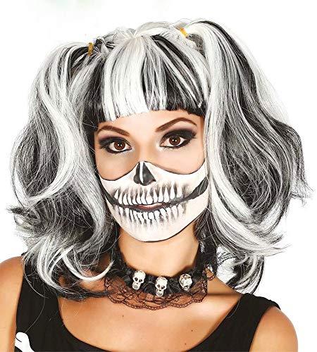 shoperama Schwarz-weiß gesträhnte Halloween Damen Perücke mit Zwei Zöpfen und Pony Pferdeschwanz Zombie Geist