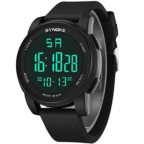 FELICIG Shi Nuo Ke Wasserdichte Sportuhr Männer Outdoor-elektronische Uhr leuchtende multifunktionale Student männliche Uhr 9002 (Color : Black)