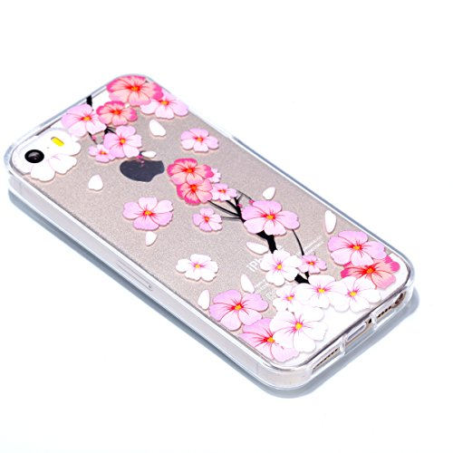 Custodia iPhone 5S, iPhone SE Cover Silicone Trasparente, SainCat Cover per iPhone 5/5S/SE Custodia Silicone Morbido, Shock-Absorption Custodia Ultra Slim Transparent Silicone Case Ultra Sottile Morbi Fiore di Pesca Rosa
