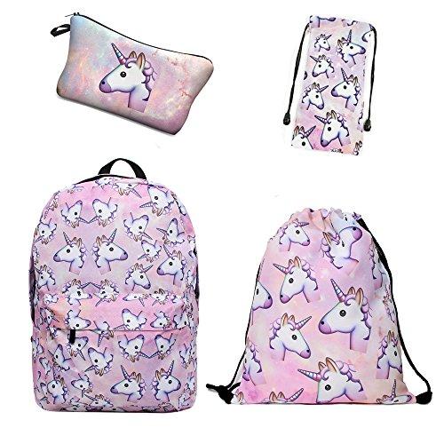 Giddah fashion colorato cute scuola unicorno rosa delle ragazze zaini per bambini pack of 4 (#2)