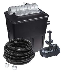 Hozelock 1340 1240 Set per laghetti composto da 1 filtro superficiale Ecopower+ 5000, 1 pompa da 1400 litri, 1 tubo flessibile per laghetti lungo 7 m e morsetto