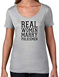 Real Women Marry Policemen - Womens Scoop Neck T-Shirt - 7 Colours