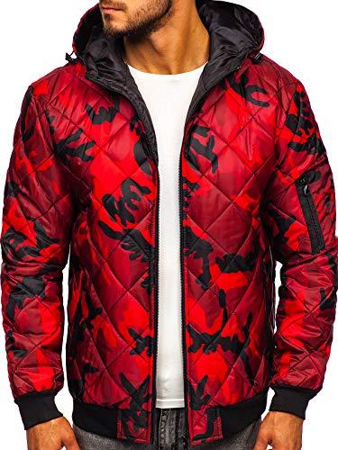 BOLF Herren Übergangsjacke mit Reißverschluss Kapuze Camo Army Motiv Sport Style J.Style MY21M Rot XXL [4D4]
