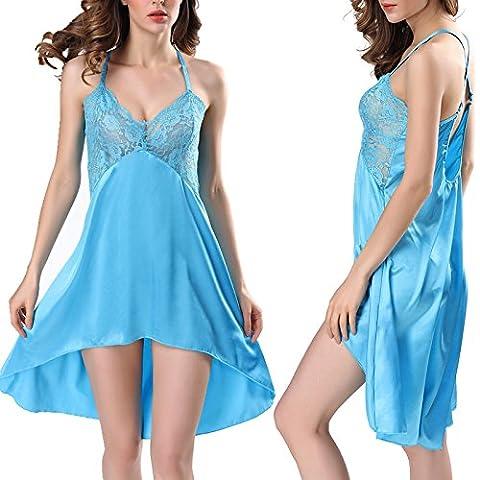 CU@EY La Lingerie féminine dentelle Lingerie Backless V profond,chemise bleu ciel,M