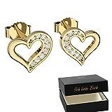 Herz Ohrringe Gold Stecker Damen Ohrstecker mit Zirkonia Silber 925 hochwertig vergoldet *GRATIS Etui Gravur