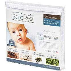 SafeRest Premium Hypoallergenic Waterproof Certified Bed Bug Proof Crib Mattress Encasement - Vinyl, PVC and Phthalate Free - (52