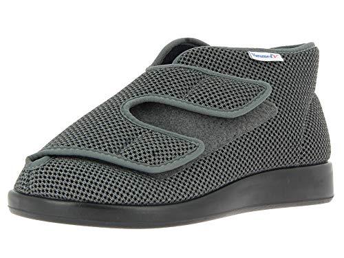 Klett-Stiefel, Unisex - Erwachsene Stiefeletten,Boots,Gesundheits-Schuhe,Klettverschluss,bequem,druckfrei,grau,45 EU / 10 UK ()