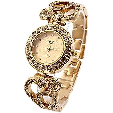Sheli Fahion todos los chapado en oro pulsera de Bling diamantes pequeños reloj con flores diseñado banda para las mujeres