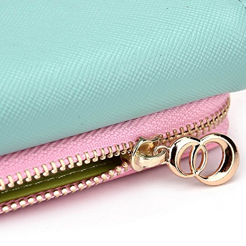 Kroo d'embrayage portefeuille avec dragonne et sangle bandoulière pour Allview A5duo/E2Living Smartphone Multicolore - Black and Green Multicolore - Green and Pink