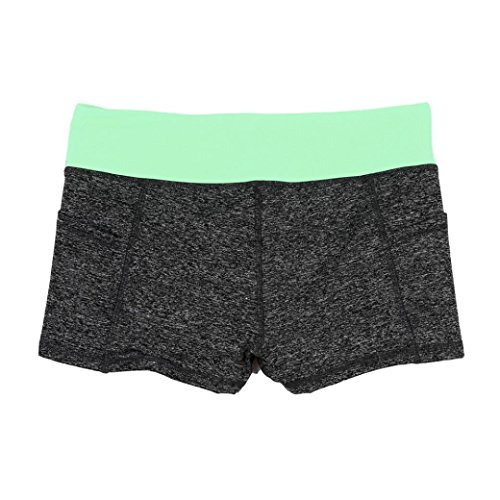 Pantalons courts femme,Tonwalk Yoga/Workout/Fitness/Running Leggings Été Élastique Respirant Shorts Vert