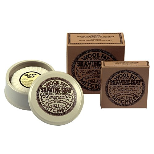 Shaving Soap Bowl (Mitchell's Ceramic Shaving Bowl, Soap and Additional Boxed Lanolin Shaving Soap by Mitchell's Wool Fat Soap Ltd)