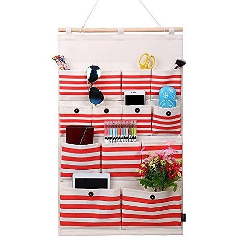 Homecube Bolsa colgante de almacenamiento, tela de lino/algodoacuten, 13nbspbolsillos, para puerta o pared, disentildeo de lunares blancos/rayas de color azul marino (rayas de color rojo
