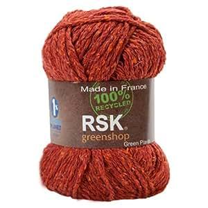 fil tricoter en soie lin et coton couleur rouille 50 grs made in france rsk green. Black Bedroom Furniture Sets. Home Design Ideas