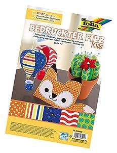 Folia 522402-Fieltro para Manualidades con Motivos Impresos de Kids, 20x 30cm, 5Hojas Surtidos
