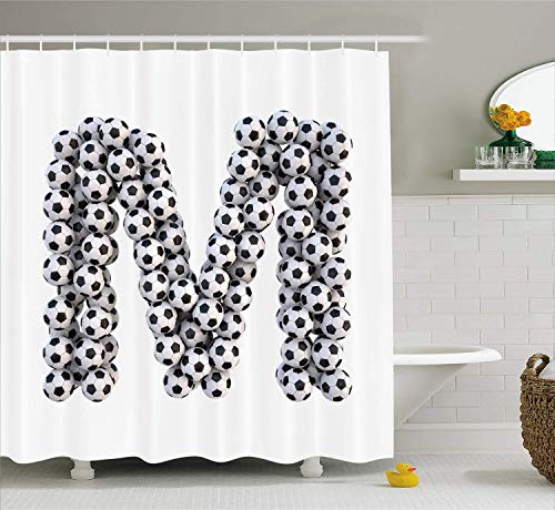 LongTrade Letter M Shower Curtain Duschvorhang Diagonal and Vertical Stack of Soccer Balls Alphabet Letter M Symbol Design, Cloth Fabric Bathroom Decor Set with Hooks White Charcoal 72x72 inch -