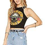 American Street Estilo Guns N Roses Sin Mangas Estampado Eslogan Logotipo Gráfico Graphic Crop Corta Corto Camiseta Sin Mangas Top Negro
