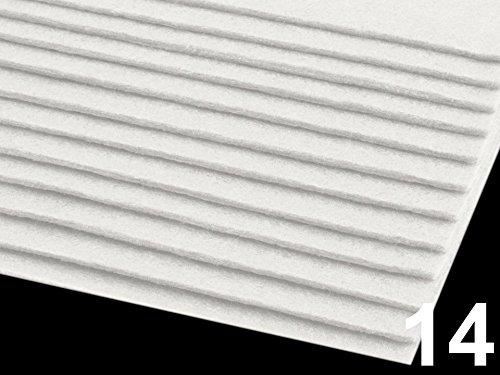 Dekorativer Filz/ Bastelfilz, Größe 20x30cm DIN A4, Stärke 2-3mm, 12 Bögen (Weiß)