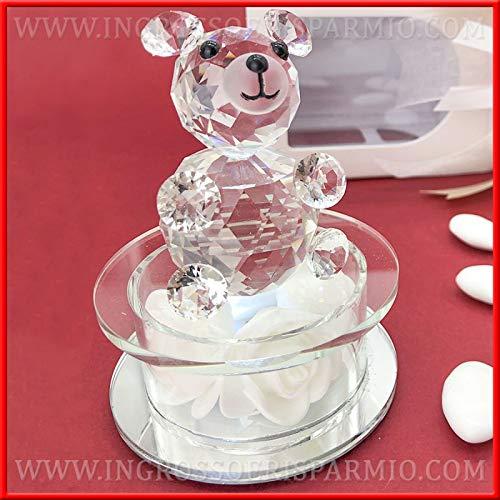 Ingrosso e risparmio orsetto in cristallo con luce a led fredda su base in vetro con rose bianche finte, bomboniere eleganti battesimo bambino, bambina (con confezione rosa)