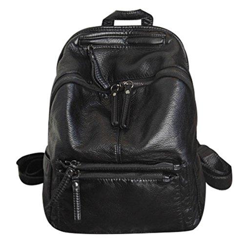 NiSeng Damen Leder Rucksack Weichem Leder Schulterbeutel Hohe Kapazität Casual Tasche Daypack Reiserucksack Schwarz