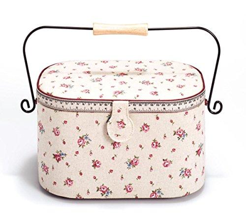 Prym-Delicate Country Rose-Metro a nastro con stampa e cestino per il cucito, con maniglia, in lino, in legno/metallo, colore: avorio, taglia: