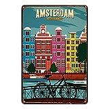Not Amsterdam Targa in Metallo stagnato Targa Vintage in Ferro retrò Decorazione per Poster di Avvertimento per Bar Cafe Store Home Garage Office Hotel