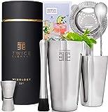 Twice Element® Cocktail Shaker Set  Edelstahl Shaker im Boston-Stil   Reichhaltiges Zubehör für einfachste Handhabung   Bonus-Rezeptbuch, Elegante Geschenkbox & Aufbewahrungstasche (Schwarz) -