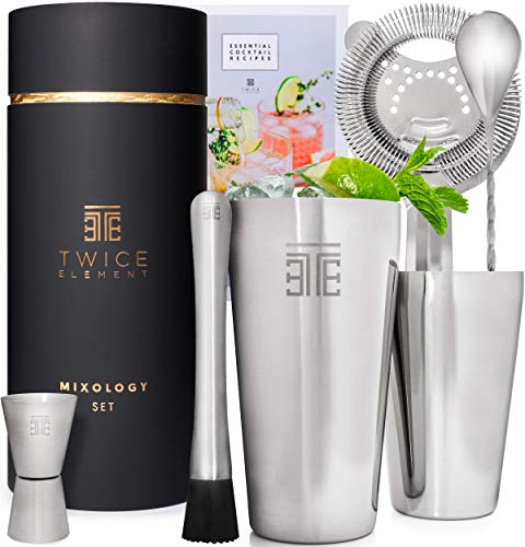 Twice Element® Cocktail Making Set | Food-Grade Stainless Steel Boston Style Shaker Kit with Essential Drink Accessories, BONUS Recipe Book, Elegant Gift Box & Storage Pouch | Designed in the UK