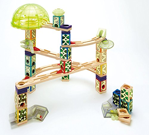 Hape-E6017-Jeux-de-Construction-en-Bois-Circuit-de-Billes-Quadrilla-Phosphorescent-Space-City
