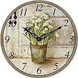 Technoline WT 1010 - Quarzwanduhr Wanduhr Retro 34cm Blume Landhaus Nostalgie Küchenuhr Küchenwanduhr