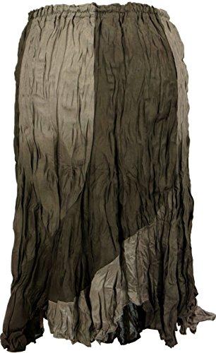 Guru-Shop Midirock, Flamencorock, Batikrock, Sommerrock, Krinklerock, Damen, Viskose, Size:38, Kurze Röcke Alternative Bekleidung Braun