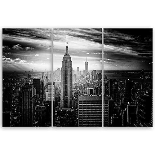 ge Bildet® hochwertiges Leinwandbild XXL - Empire State Building in New York - Schwarz Weiß - 120 x 80 cm mehrteilig (3 teilig) 2283 D