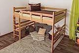 Hochbett für Erwachsene Easy Premium Line K15/n, Buche Vollholz massiv Natur, umbaubar - Liegefläche: 160 x 200 cm