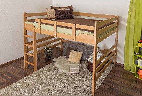 """Hochbett für Erwachsene """"Easy Sleep"""" K15/n, Buche Vollholz massiv Natur, umbaubar - Liegefläche: 160 x 200 cm"""