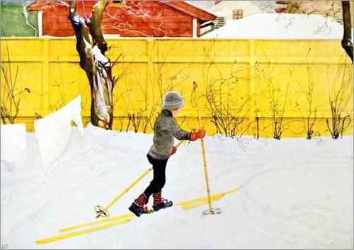 Posterlounge Alu Dibond 130 x 90 cm: Die Skier von Carl Larsson/Bridgeman Images