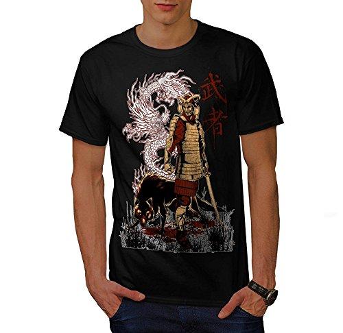Stedman Japan Dragon Wolf Samurai Life Unisex - Kinder T Shirt - Schwarz - 7-8 Jahre