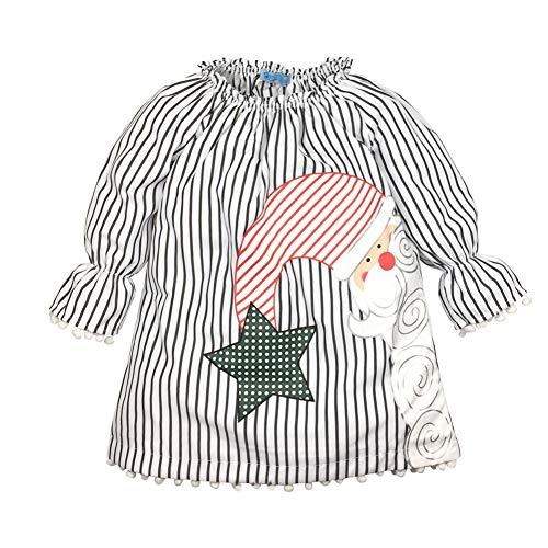 Weihnachtsmann Kostüm Kinder Muster - ESHOO Kinder Baby Mädchen Weihnachten Kleider Weihnachtsmann Streifen Print Langarm Kleid Weihnachten Kostüm Geschenk