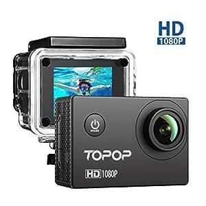 Action Cam Full HD 1080P, 12MP, 170° Grandangolare, 2 Pollici Display Action Camera Sport, 30M Impermeabile, 26 Pezzi Accessori, Video Full HD a 1080P e 30 fps , Topop Video Camera Perfeto per Sport Esterni.