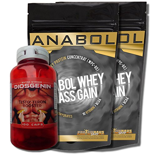 Anabol Whey Mass Gain 4kg/4000g + Diosgenin Wild Yam Extract 100Capsules 20mg Pure Disocorea villosa Root Testosterone Booster Booster