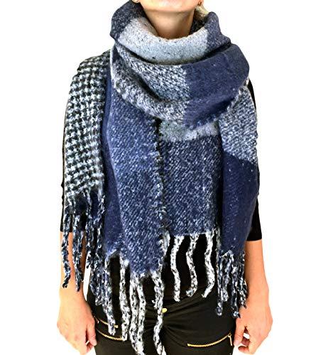 Damen Herbst Winter Schal XXL riesig und extrem flauschig dick Baumwolle Poncho Scarf Blogger kariert Fransen (A-01)