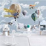 WH-PORP 3D Tapete Wandbild benutzerdefinierte Wohnzimmer Schlafzimmer Nordic Hand gezeichnet Cartoon Flugzeug Ballon Kinder Zimmer Wandbild Hintergrund-200cmX140cm