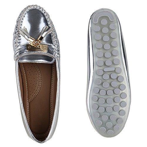 Damen Slipper Pastell Flats Schuhe Lederoptik Silber Lack Quasten