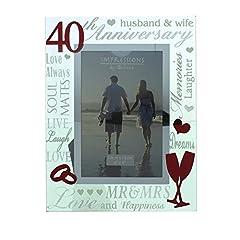 Idea Regalo - Ruby, cornice a specchio portafoto, adatta per il 40esimo anniversario di matrimonio.