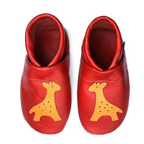 pantau.eu Kinder Lederpuschen Krabbelschuhe Babyschuhe Lauflernschuhe mit Giraffe ROT_GELB